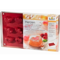 BIRKMANN Placca in silicone per 15 muffin a forma di cuore