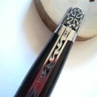 Coltello pieghevole manico ebano con Croce Occitana LAGUIOLE en AUBRAC